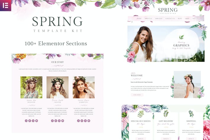 Thumbnail for Spring Watercolor and Floral Template Kit