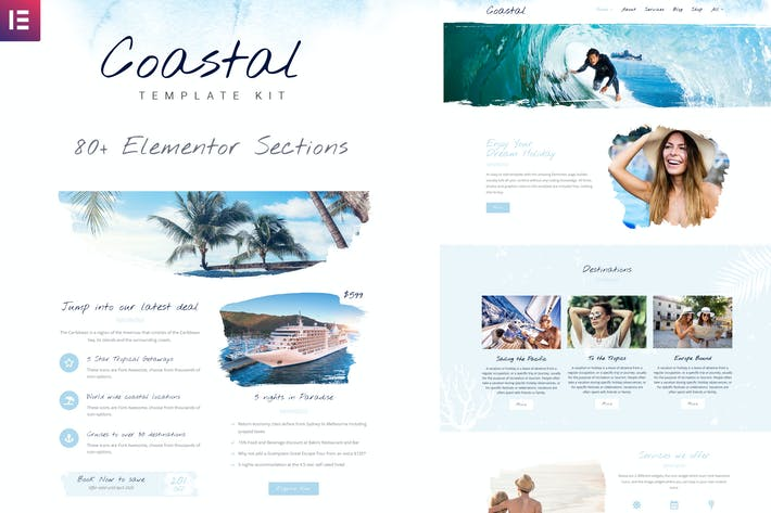 Coastal Travel and Surf Grunge Template Kit