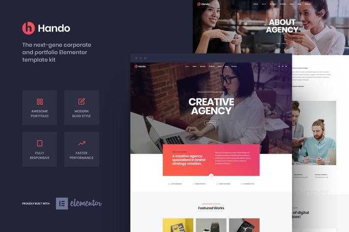 Thumbnail for Hando - Corporate & Portfolio Elementor Template Kit