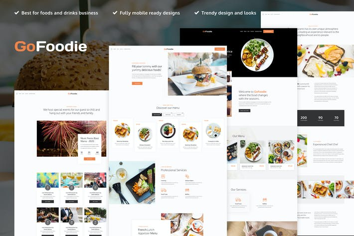 Thumbnail for GoFoodie - A premium template kits for Elementor
