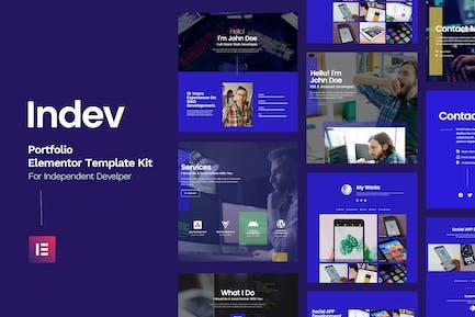 Indev - Portfolio Elementor Template Kit For Developer