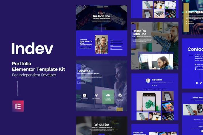 Cover Image For Indev - Portfolio Elementor Template Kit For Developer