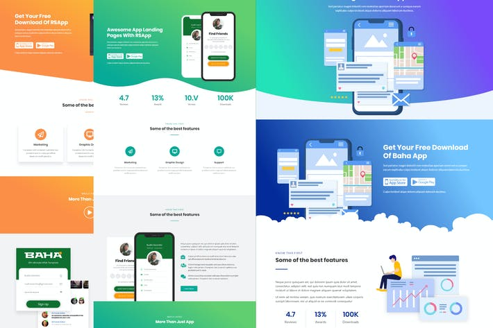 Thumbnail for Baha - Apps Landing Template Kit