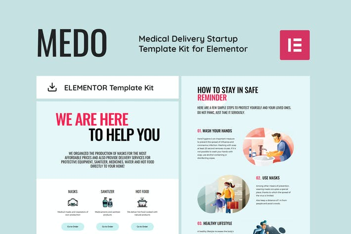 MEDO - Medical Delivery Startup Elementor Template Kit