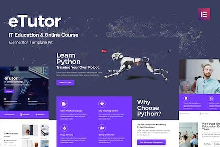 eTutor - Kit de Plantilla para Elementor de Cursos en Línea y Educación