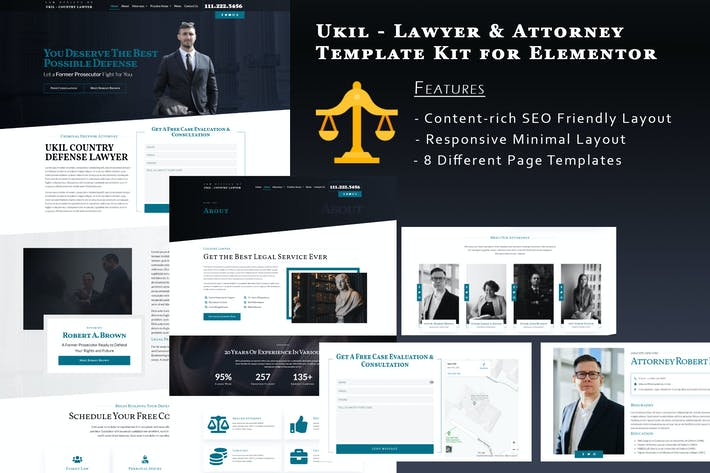 Thumbnail for Ukila - Lawyer & Attorney Template Kit for Elementor
