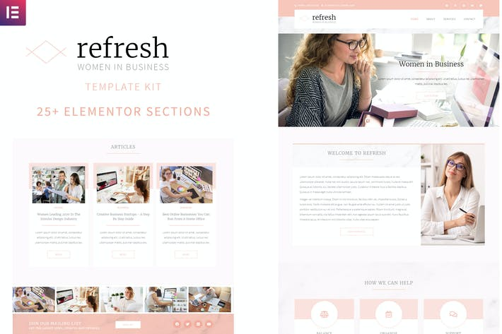 Thumbnail for Refresh - Women in Business Elementor Template Kit