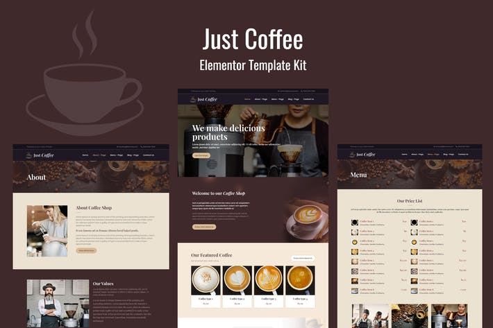 Thumbnail for Justcoffee - Cafe and Coffee Elementor Template Kit