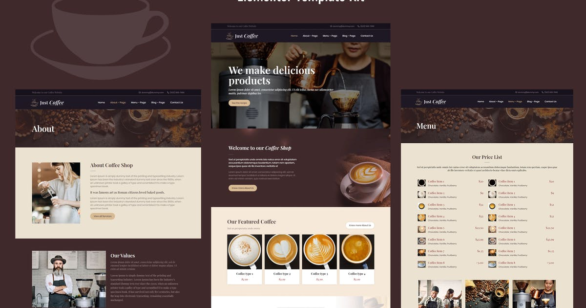 Download Justcoffee - Cafe and Coffee Elementor Template Kit by Templatation