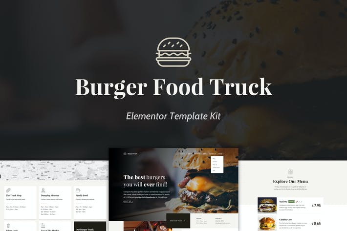 Thumbnail for Burger Food Truck - Popup Restaurant Elementor Template Kit