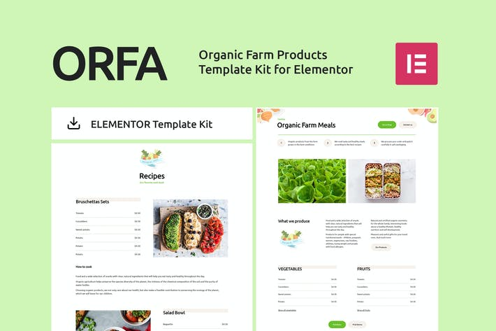 Thumbnail for ORFA - Organic Farm Products Elementor Template Kit