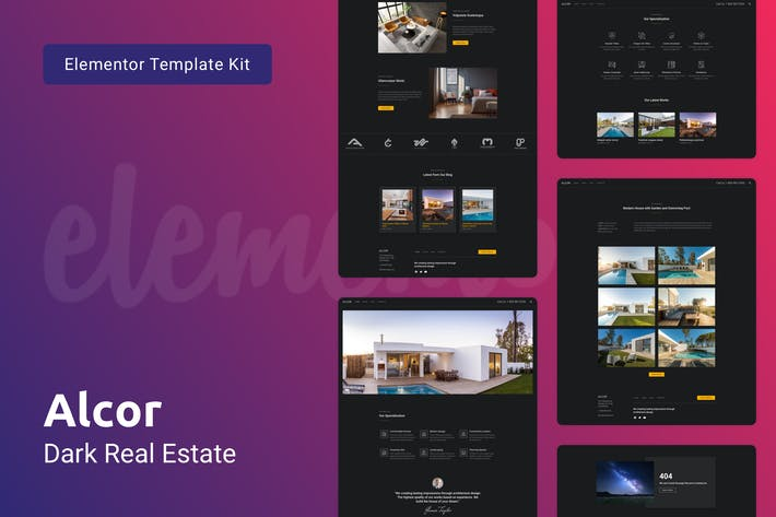 Thumbnail for Alcor — Dark Real Estate Elementor Template Kit