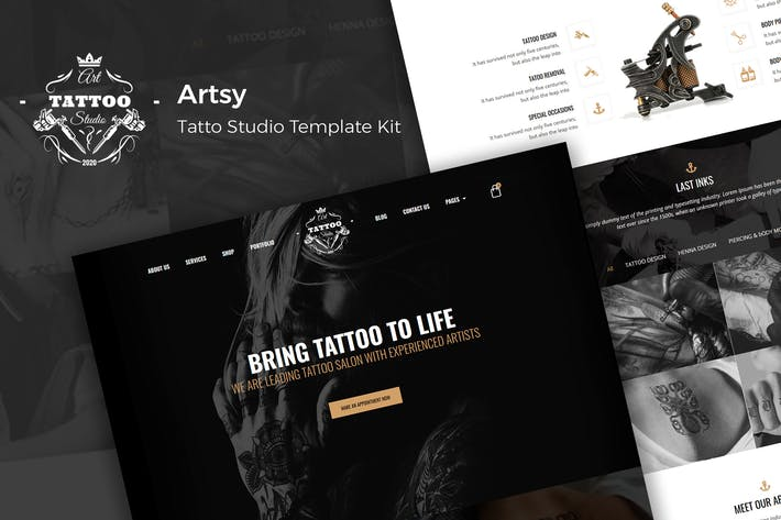 Thumbnail for Artsy - Tattoo Studio Template Kit