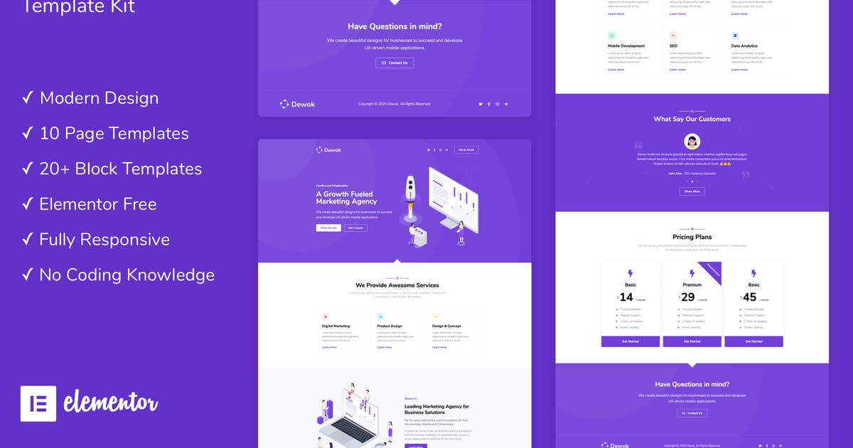 Download Dewok - Digital Agency Template Kit by PxlSolutions