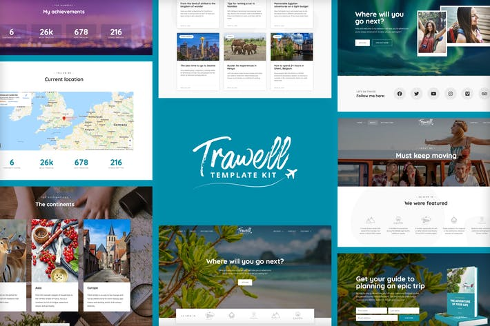 Thumbnail for Trawell - Travel Blog Elementor Template Kit