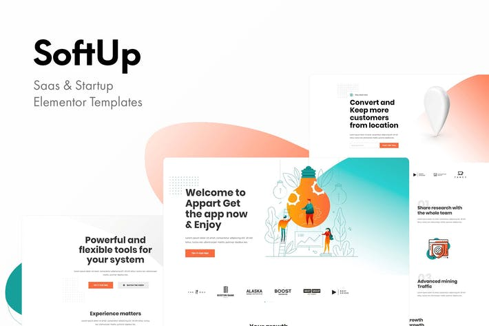 Cover Image For SoftUp - Saas & Startup Elementor Templates