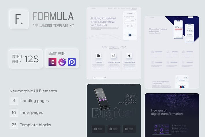 Thumbnail for Formel - Software & App Landing Elementor Vorlage Kit
