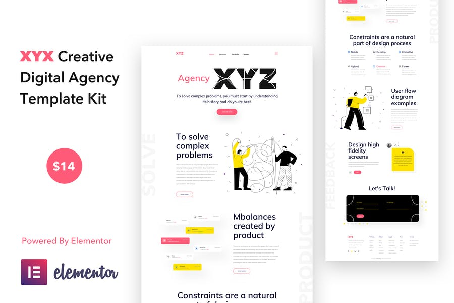 XYZ - Creative Digital Agency Business WordPress Elementor Template Kit