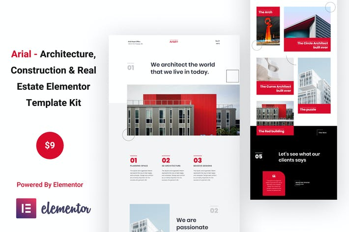 Thumbnail for Arial - Architecture, Construction & Real Estate Elementor Template Kit