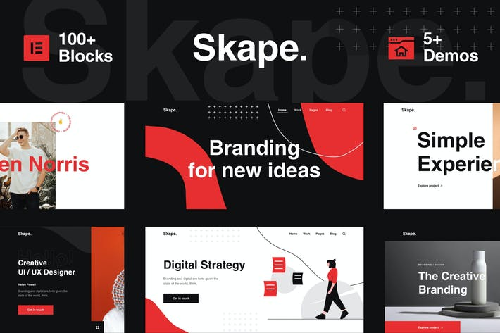 Thumbnail for Skape - Creative Multipurpose Digital Agency Business & Portfolio WordPress Elementor Template Kit