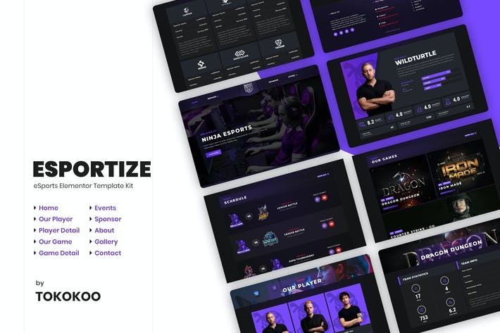 Thumbnail for Esportize | eSports Elementor Template Kit