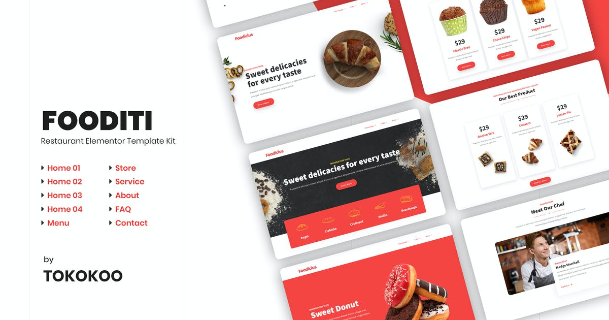 Download Fooditi   Restaurant and Cafe Elementor Template Kit by Tokokoo