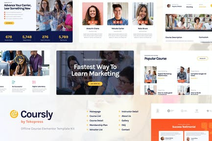 Coursly | Offline Course Elementor Template Kit