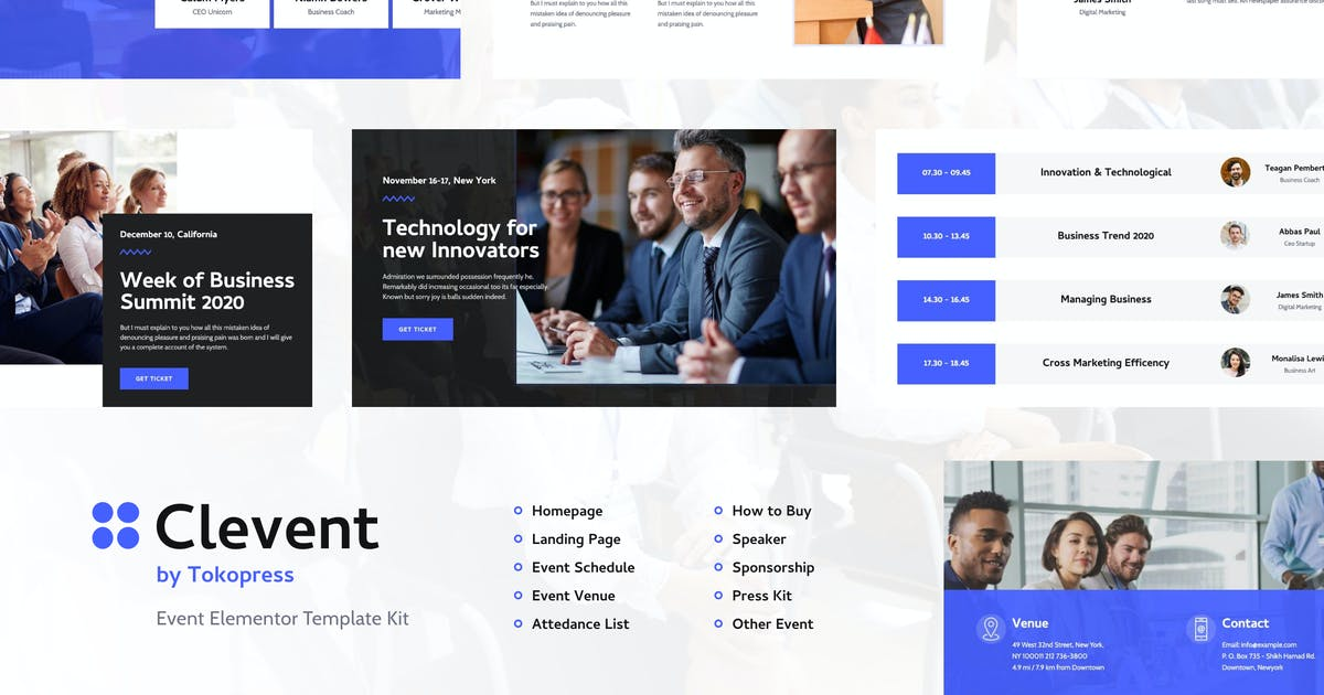 Download Clevent | Event Elementor Template Kit by tokopress