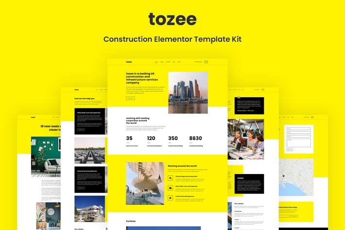 Thumbnail for Tozee - Construction Elementor Template Kit