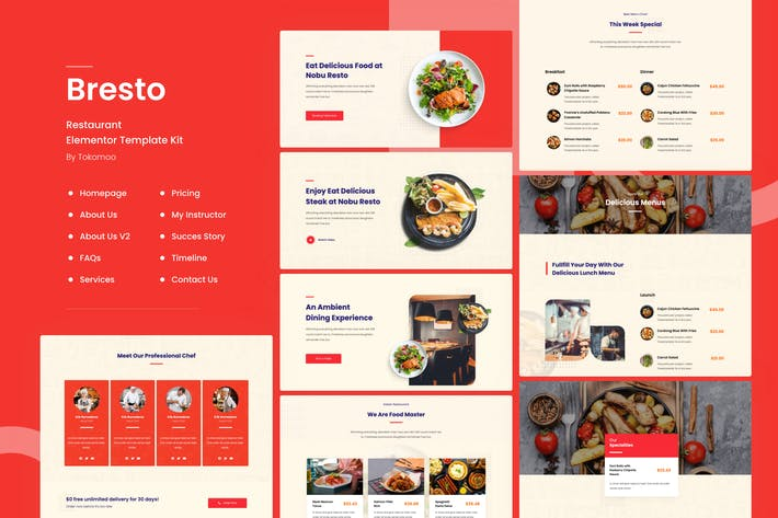Bresto | Restaurant Elementor Template Kit