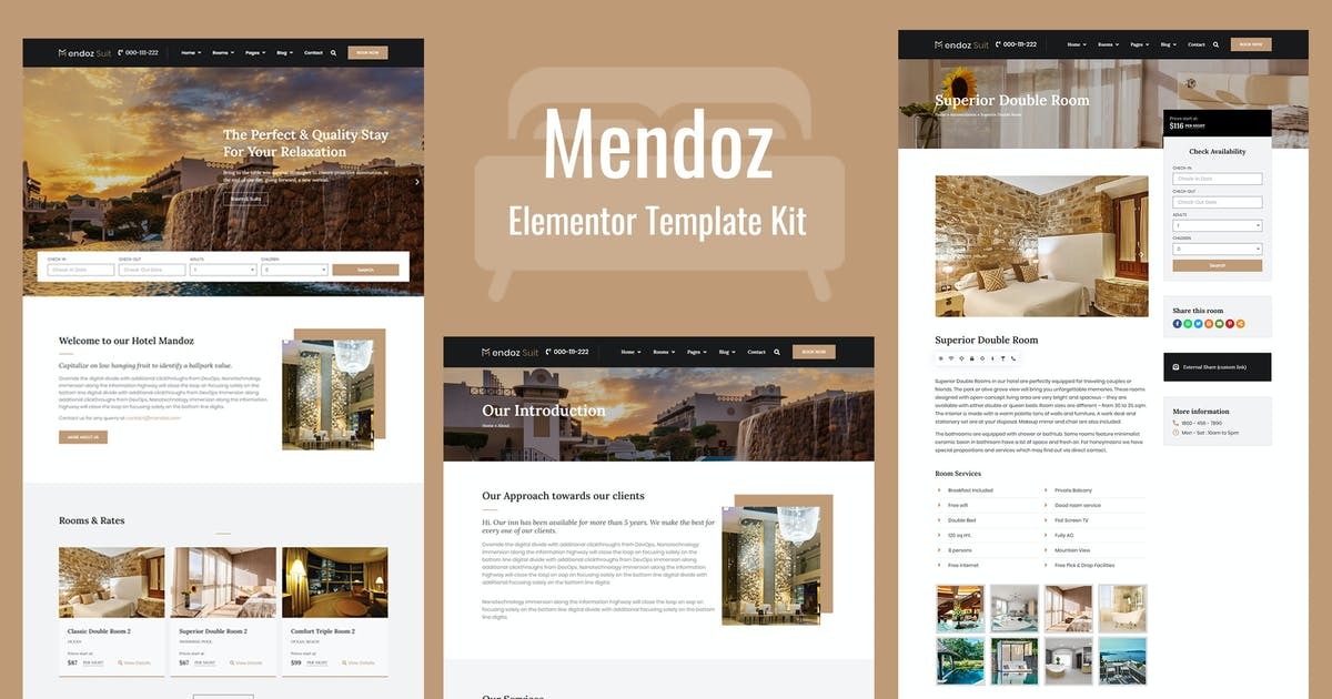 Download Mendoz - Hotel & Travel Template Kit by Templatation