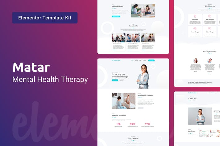 Thumbnail for Matar — Mental Health Therapy Elementor Template Kit