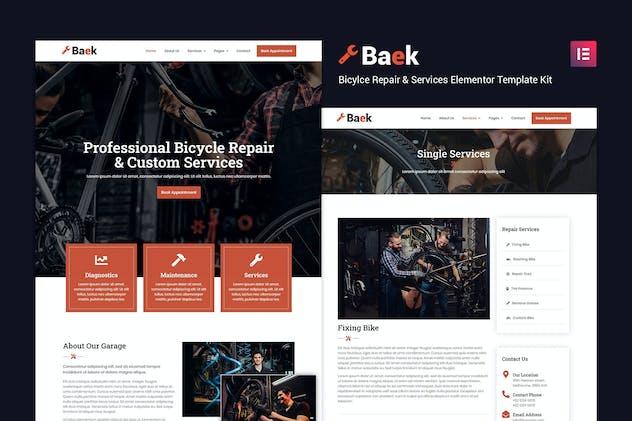 Baek - Bicycle Repair and Service Elementor Template Kit