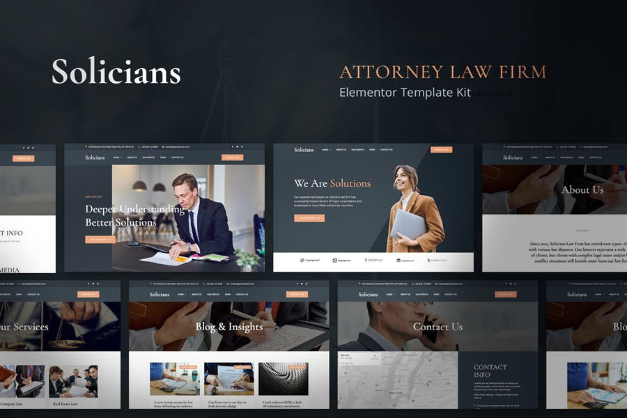 Solicians - Attorney Law Firm Elementor Template Kit by jegtheme on Envato Elements