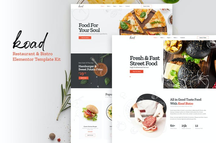Thumbnail for Koad - Restaurant & Bistro Elementor Template Kits