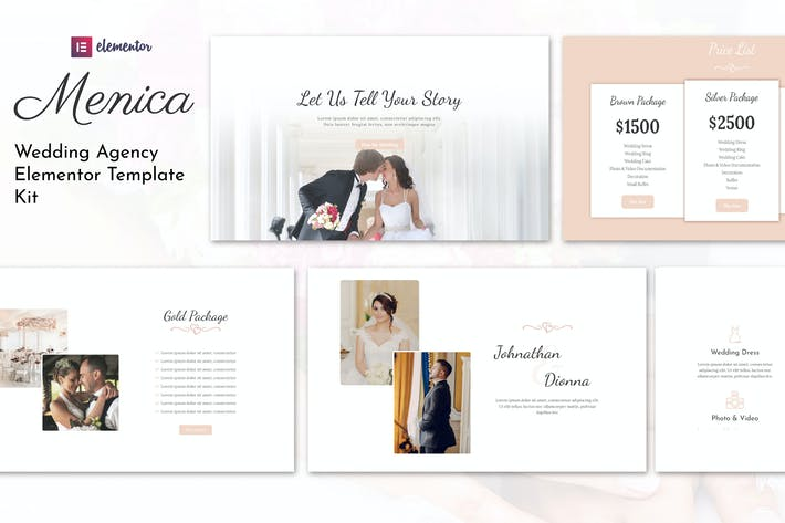Thumbnail for Menica - Wedding Elementor Template Kit