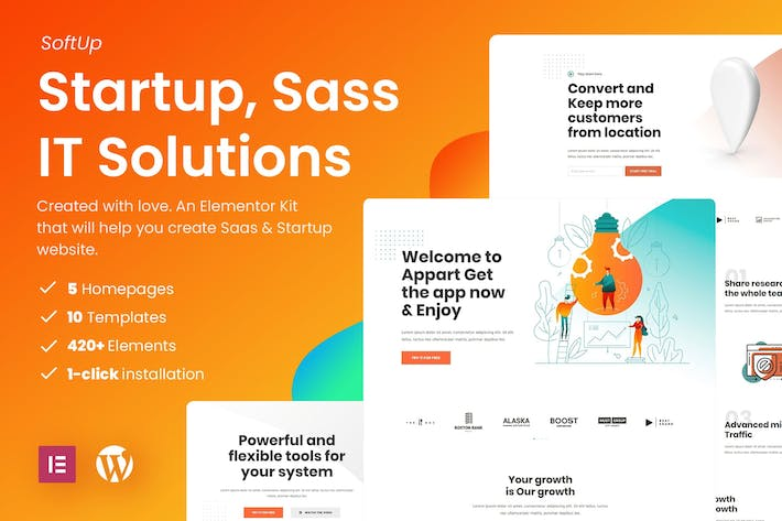 Thumbnail for SoftUp - Saas & Startup Elementor Templates