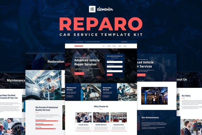 Thumbnail for Reparo - Car Service Elementor Template Kit