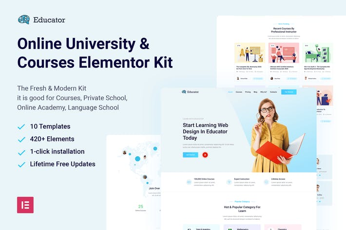 Educator - Online University & Courses Elementor Template Kit