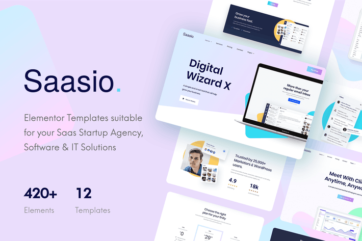 Cover Image For Saasio - Saas & Startup Elementor Template Kit