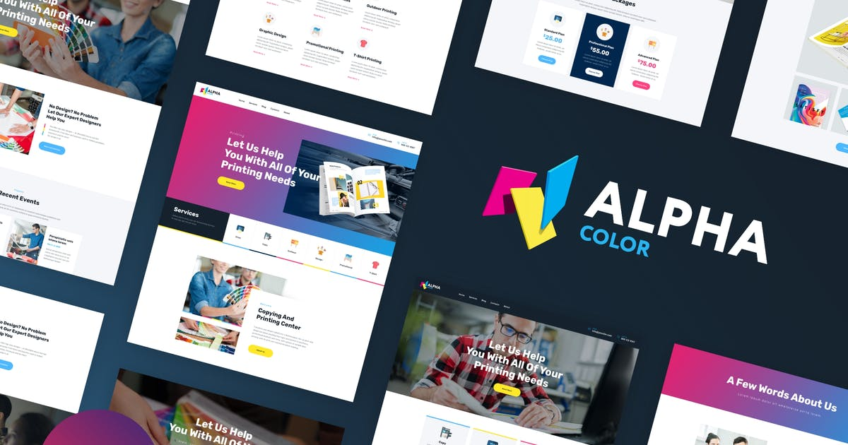 Download AlphaColor - Design & Printing Elementor Template Kit by AncoraThemes