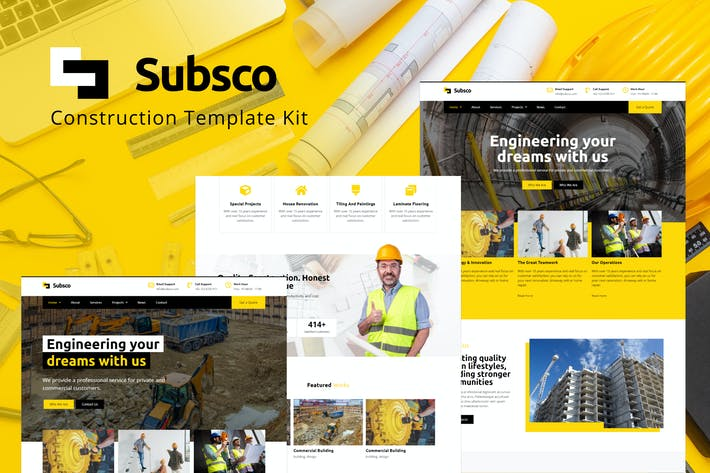 Thumbnail for Subsco - Construction Elementor Template Kit