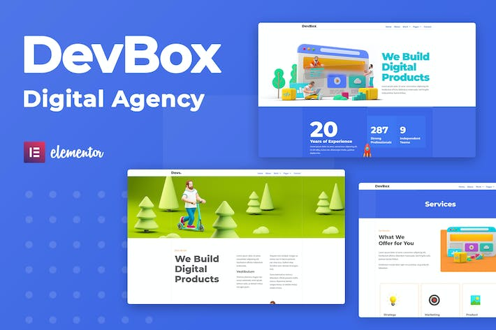 Thumbnail for DevBox — Creative Digital Agency Elementor Template Kit