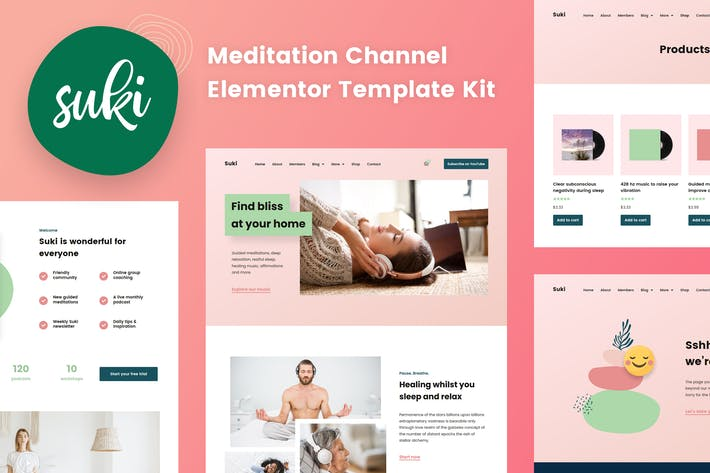 Thumbnail for Suki - Meditation Channel Elementor Template Kit