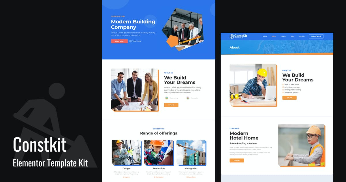 Download Constkit - Construction and Industrial Elementor Template by Templatation