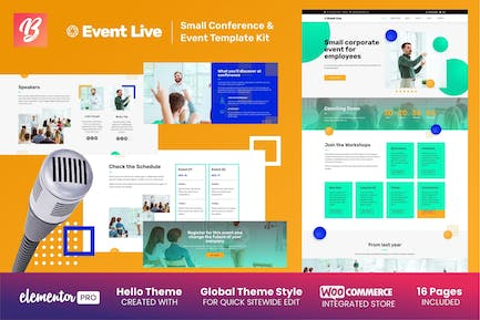 EventLive - Small Conference & Event Elementor Template Kit