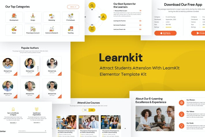 LearnKit - e-Learning Elementor Template Kit