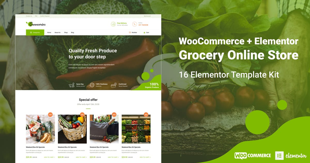 Download Growceries - Food & Grocery Store Elementor Template Kit by ThemeWarriors
