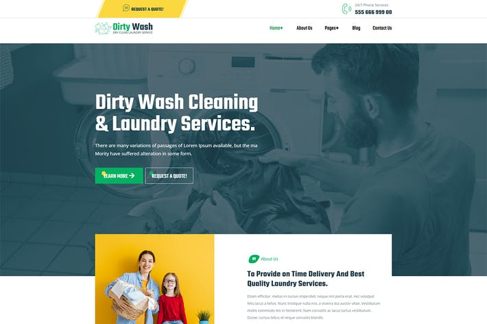 Thumbnail for DirtyWash - Dry Cleaning & Laundry Service Elementor Template Kit
