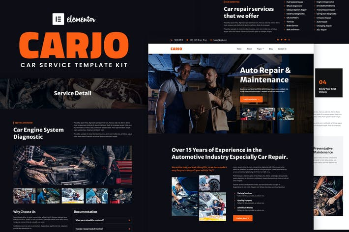 Thumbnail for Carjo - Car Services & Repair Elementor Template Kit